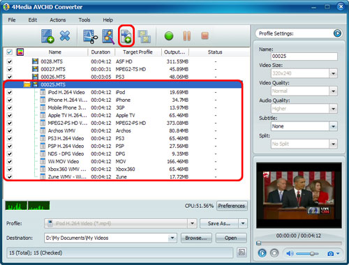 Convert AVCHD videos to MP4