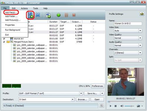 Convert AVI to SWF file