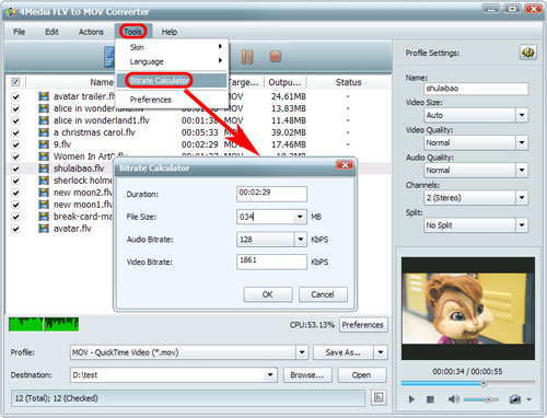 Convert FLV to MOV, FLV to QT