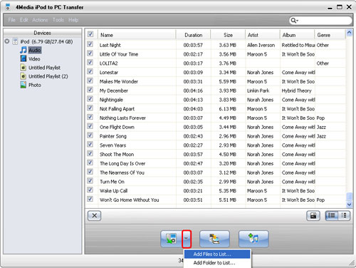 Transfer music to iPod